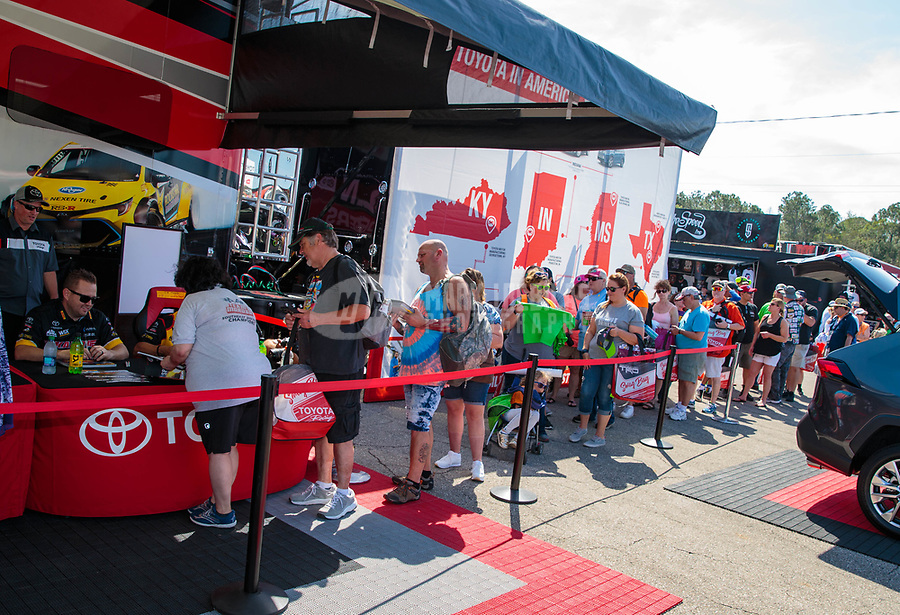 Mar 15, 2019; Gainesville, FL, USA; NHRA fans at the Toyota display on the midway in the pits during qualifying for the Gatornationals at Gainesville Raceway. Mandatory Credit: Mark J. Rebilas-USA TODAY Sports