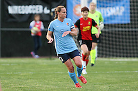 Piscataway, NJ, May 7, 2016.  Defender Christie Rampone (3) of Sky Blue FC watches her pass in their game against the Western New York Flash.  The Western New York Flash defeated Sky Blue FC, 2-1, in a National Women's Soccer League (NWSL) match at Yurcak Field.