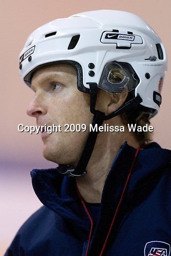 Joe Exter (US - Assistant Coach) - Team USA practiced on Thursday, August 13, 2009, in the USA (NHL-sized) Rink in Lake Placid, New York, during the 2009 USA Hockey National Junior Evaluation Camp.
