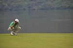 Chris Wood lines up his putt on the first.on the final day of the 3 Irish Open, at the Killarney Golf and Fishing Club, Killarney, Ireland.Picture Fran Caffrey/www.golffile.ie.