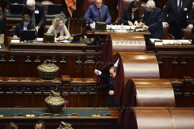 roma, 18 Aprile 2013.Camera dei Deputati.Votazione del Presidente della Repubblica a camere riunite.Il voto di Silvio Berlusconi