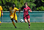 18 September 2011: Harvard University Crimson Midfielder Scott Prozeller, a Junior from Sudbury, MA, works against Defender Yannick Lewis, a Senior from Toronto, Ontario of the University of Vermont Catamounts at Centennial Field in Burlington, Vermont. The Catamounts shut out the visiting Crimson 1-0, earning their 3rd straight victory of the 2011 season. Mandatory Credit: Ed Wolfstein Photo