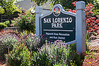 The sign at the entrance to San Lorenzo Park, part of the Hayward Area Recreation and Park District.