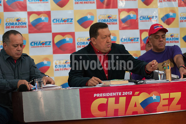 Venezuela: Caracas,09/07/12 .Venezuela President Hugo Chavez speaks during a press conference of his campaign for president in elections next October 7,  National assembly president Diosdado Cabello (L) and Jorge Rodriguez, Caracas Mayor and chief of campaing (R).Carlos Hernandez/Archivolatino