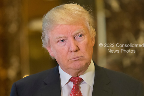 Following their meeting President-elect Trump and LVHM Fashion's Alexandre and Bernard Arnault spoke with the press in the lobby of Trump Tower in New York, NY, USA on January, 9, 2017. <br /> Credit: Albin Lohr-Jones / Pool via CNP