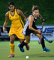 Action from the Wellington Secondary Schools Premier 1 Girls Grade hockey match between Queen Margaret College and Wellington Girls' College at National Hockey Stadium in Wellington , New Zealand on Friday, 21 June 2019. Photo: Dave Lintott / lintottphoto.co.nz
