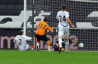 FAO SPORTS PICTURE DESK<br /> Pictured: Matt Jarvis (17) of the Wolves scoring, Ashley Williams (L) of Swansea fails to stop him. Saturday, 28 April 2012<br /> Re: Premier League football, Swansea City FC v Wolverhampton Wanderers at the Liberty Stadium, south Wales.