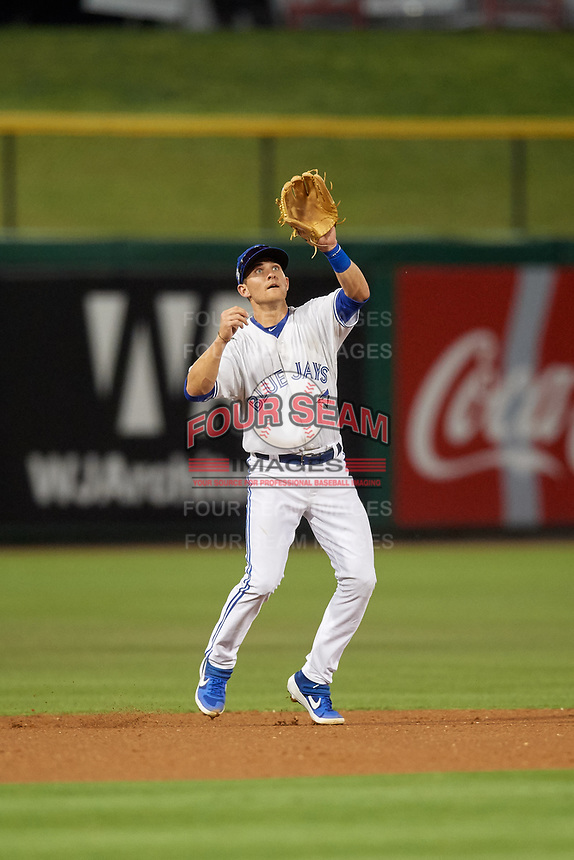 Dunedin Blue Jays shortstop Logan Warmoth (7) fields a high chopper during a Florida State League game against the Clearwater Threshers on April 4, 2019 at Spectrum Field in Clearwater, Florida.  Dunedin defeated Clearwater 11-1.  (Mike Janes/Four Seam Images)