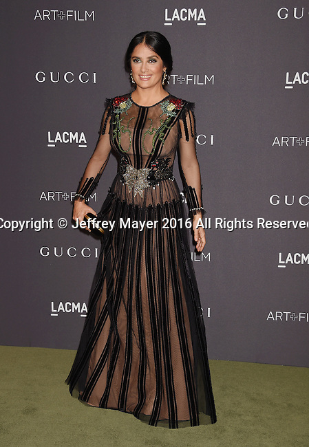 LOS ANGELES, CA - OCTOBER 29: Actress Salma Hayek attends the 2016 LACMA Art + Film Gala honoring Robert Irwin and Kathryn Bigelow presented by Gucci at LACMA on October 29, 2016 in Los Angeles, California.
