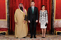 Queen Letizia of Spain and King Felipe VI of Spain before lunch in honor of Arabia Saudi heir prince, Mohámed bin Salmán at Royal Palace in Madrid, Spain. April 12, 2018. (ALTERPHOTOS/Borja B.Hojas) /NortePhoto.com