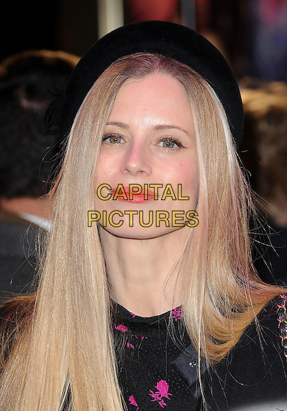 "LAURA BAILEY.The ""Paul"" UK Film Premiere, Empire Cinema, Leicester Square, London, England, UK,.7th February 2011..headshot portrait pink top black print hat red lipstick .CAP/BEL.©Tom Belcher/Capital Pictures."