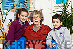 Sophia and Sean Sharma with their nana Eibhlin Gleeson in Gaelscoil Faithleann Killarney on Friday