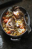 Europe, France, Auvergne, Cantal (15), Paulhac: Pieds de cochon, au pois blonds de la Planèze, recette de François Rongier //  Europe, France, Auvergne, Cantal, Paulhac: Pig's feet with blond Planèze peas, recipe by François Rongier