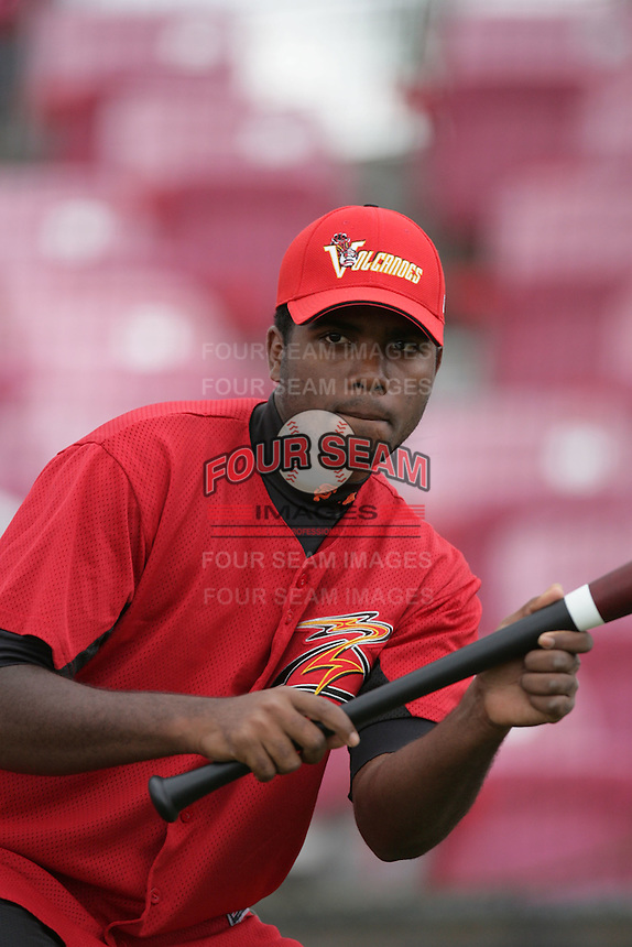 July 8 2009: Mario Rodriguez of the Salem-Kaizer Volcanoes before game against the Tri City Dust Devils at Volcano  Stadium in Kaizer,OR.  Photo by Larry Goren/Four Seam Images