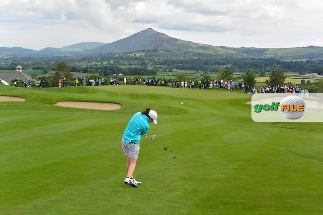Leona Maguire on the 9th fairway during the Saturday Afternoon Fourballs of the 2016 Curtis Cup at Dun Laoghaire Golf Club on Saturday 11th June 2016.<br /> Picture:  Golffile | Thos Caffrey