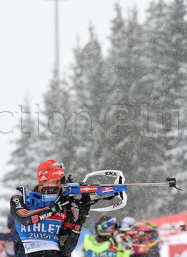 04.03.2016. Holmenkollen, Oslo, Norway.  Female Biathlete Vanessa Hinz of Germany in shooting action during a training session at the Biathlon World Championships, in the Holmenkollen Ski Arena, Oslo, Norway, 04 March 2016.