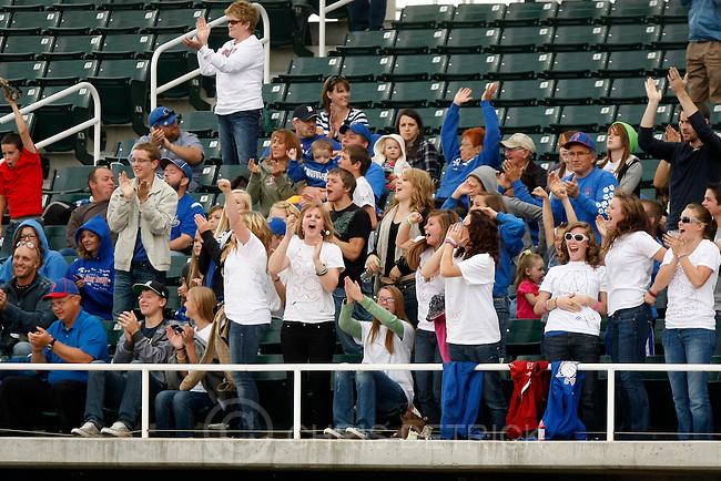 Chris Detrick  |  The Salt Lake Tribune.Panguitch fans cheer during the 1A baseball championships at Brent Brown Ballpark at Utah Valley University Tuesday October 11, 2011.  Panguitch defeated Wayne 10-1.