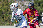 Los Angeles, CA 04/01/16 - Coleman Lee (USC #12) and Daniel Wong (Loyola Marymount #3) in action during the University of Southern California and Loyola Marymount University SLC conference game  USC defeated LMU.