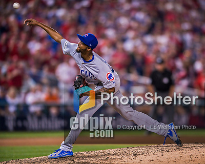 7 October 2017: Chicago Cubs pitcher Carl Edwards Jr. on the mound against the Washington Nationals at Nationals Park in Washington, DC. The Nationals defeated the Cubs 6-3 and even their best of five Postseason series at one game apiece. Mandatory Credit: Ed Wolfstein Photo *** RAW (NEF) Image File Available ***