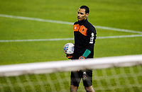 Blackpool's Christoffer Mafoumbi warms up<br /> <br /> Photographer Alex Dodd/CameraSport<br /> <br /> The EFL Checkatrade Trophy Northern Group C - Blackpool v West Bromwich Albion U21 - Tuesday 9th October 2018 - Bloomfield Road - Blackpool<br />  <br /> World Copyright &copy; 2018 CameraSport. All rights reserved. 43 Linden Ave. Countesthorpe. Leicester. England. LE8 5PG - Tel: +44 (0) 116 277 4147 - admin@camerasport.com - www.camerasport.com