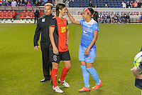 Bridgeview, IL, USA - Saturday, April 23, 2016: Western New York Flash defender Abby Erceg (6) and Chicago Red Stars defender Samantha Johnson (16), former teammates, after a regular season National Women's Soccer League match between the Chicago Red Stars and the Western New York Flash at Toyota Park. Chicago won 1-0.