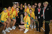 16.11.2007 Australia and Molly Rhones celebrates after the Silver Ferns v Australia Final at the New World Netball World Champs held at Trusts Stadium Auckland New Zealand. Mandatory Photo Credit ©Michael Bradley.