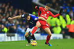 Ross Barkley of Everton battles Leicester's Andrej Kramaric - Everton vs. Leicester City - Barclay's Premier League - Goodison Park - Liverpool - 22/02/2015 Pic Philip Oldham/Sportimage