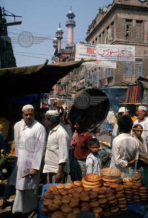 A market bread stall near a mosque in the Muslim quarter of the city.