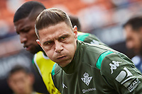29th February 2020; Mestalla, Valencia, Spain; La Liga Football,Valencia versus Real Betis; Joaquin of Real Bets warms up prior to the game