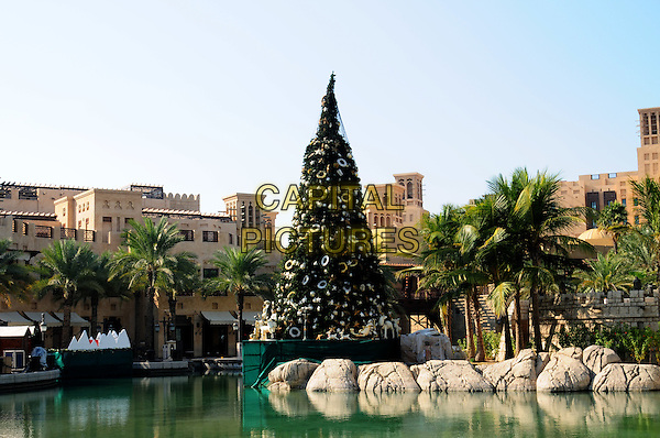 "ATMOSPHERE .Photocall for ""W."" at the Mina A Salam during the 5th Annual Dubai International Film Festival, Dubai, United Arab Emirates. .December 11th, 2008.w gv g.v. general view christmas tree water building .CAP/RD.©Richard Dean/Capital Pictures."