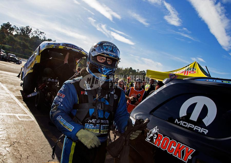 Nov 16, 2014; Pomona, CA, USA; NHRA funny car driver Matt Hagan during the Auto Club Finals at Auto Club Raceway at Pomona. Mandatory Credit: Mark J. Rebilas-USA TODAY Sports