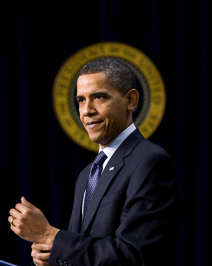 U.S. President Barack Obama speaks about initiatives to promote science, technology, engineering and mathematics education while in the Eisenhower Executive Office Building on the White House complex in Washington.