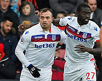 Xherdan Shaqiri of Stoke City left celebrates his goal with Badou Ndiaye of Stoke City during AFC Bournemouth vs Stoke City, Premier League Football at the Vitality Stadium on 3rd February 2018
