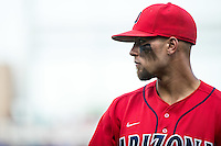 JJ Matijevic #24 of the Arizona Wildcats looks on during a College World Series Finals game between the Coastal Carolina Chanticleers and Arizona Wildcats at TD Ameritrade Park on June 27, 2016 in Omaha, Nebraska. (Brace Hemmelgarn/Four Seam Images)