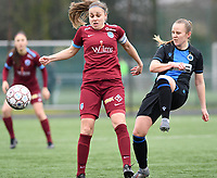 20200208 – BRUGGE, BELGIUM : Genk's Riete Loos pictured in a duel with Club Brugge's Elle Decorte during a women soccer game between Dames Club Brugge and KRC Genk Ladies on the 15 th matchday of the Belgian Superleague season 2019-2020 , the Belgian women's football  top division , saturday 08 th February 2020 at the Jan Breydelstadium – terrain 4  in Brugge  , Belgium  .  PHOTO SPORTPIX.BE | DAVID CATRY