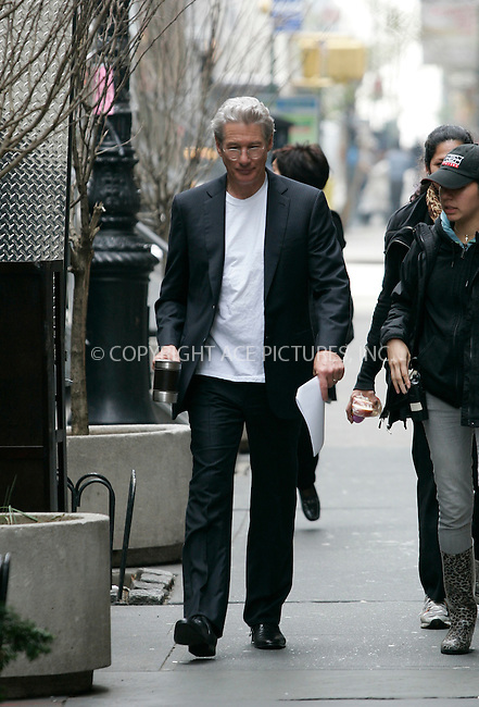"""WWW.ACEPIXS.COM . . . . .  ....April 20 2011, New York City....Actor Richard Gere walks on the set of his new movie """"Arbitrage"""" on April 20 2011 in New York City....Please byline: CURTIS MEANS - ACE PICTURES.... *** ***..Ace Pictures, Inc:  ..Philip Vaughan (212) 243-8787 or (646) 679 0430..e-mail: info@acepixs.com..web: http://www.acepixs.com"""