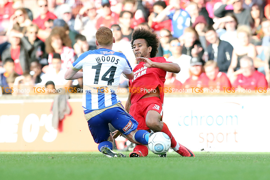 O's Joe Widdowson red card tackle on Michael Woods during Leyton Orient vs Hartlepool United, Vanarama National League Football at The Breyer Group Stadium on 13th October 2018