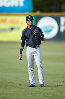 Madison Santos (58) of the Pulaski Yankees warms up in the outfield prior to the game against the Burlington Royals at Burlington Athletic Stadium on August 25, 2019 in Burlington, North Carolina. The Yankees defeated the Royals 3-0. (Brian Westerholt/Four Seam Images)