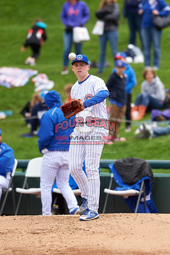 South Bend Cubs pitcher Zach Mort (37) warms up during a Midwest League game against the Cedar Rapids Kernels at Four Winds Field on May 8, 2019 in South Bend, Indiana. South Bend defeated Cedar Rapids 2-1. (Zachary Lucy/Four Seam Images)