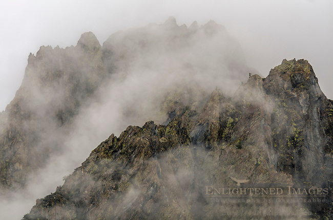Clouds shroud mountain ridges in McGee Creek, Mono County, Eastern Sierra, California