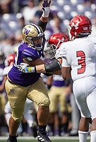 Faatui Tuitele was one of a number of young defensive linemen that made it into the game for Washington.