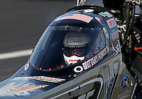 Feb. 15, 2013; Pomona, CA, USA; Detailed view of NHRA top fuel dragster driver Brittany Force beneath the canopy of her car during qualifying for the Winternationals at Auto Club Raceway at Pomona. Mandatory Credit: Mark J. Rebilas-