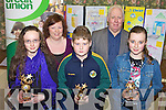 AWARDS: Winners of the Milltown Credit Union Poster Competition (11-13 category), receiving their prizes from Debra O'Brien and Tony Powell of the credit union, front l-r: Claire Riordan, Darren Griffin, Sarah Osterloh.