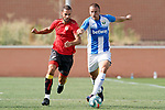 CD Leganes' Vasyl Kravets (r) and Rayo Vallecano's Mario Suarez during friendly match. July 13,2018. (ALTERPHOTOS/Acero)