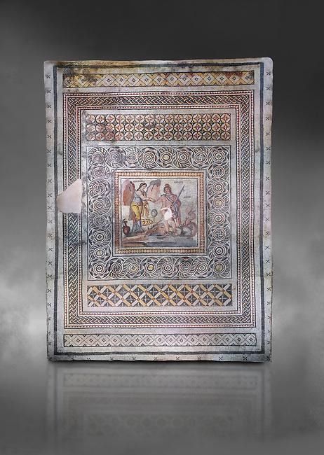 Roman mosaics - Persius & Andromeda Mosaic. Poseidon Villa Ancient Zeugama, 2nd - 3rd century AD . Zeugma Mosaic Museum, Gaziantep, Turkey.  Against a grey background.