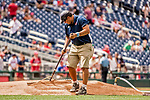 8 July 2017: A member of the Washington Nationals Grounds Crew prepares the mound for play prior to a game against the Atlanta Braves at Nationals Park in Washington, DC. The Braves shut out the Nationals 13-0 to take the third game of their 4-game series. Mandatory Credit: Ed Wolfstein Photo *** RAW (NEF) Image File Available ***
