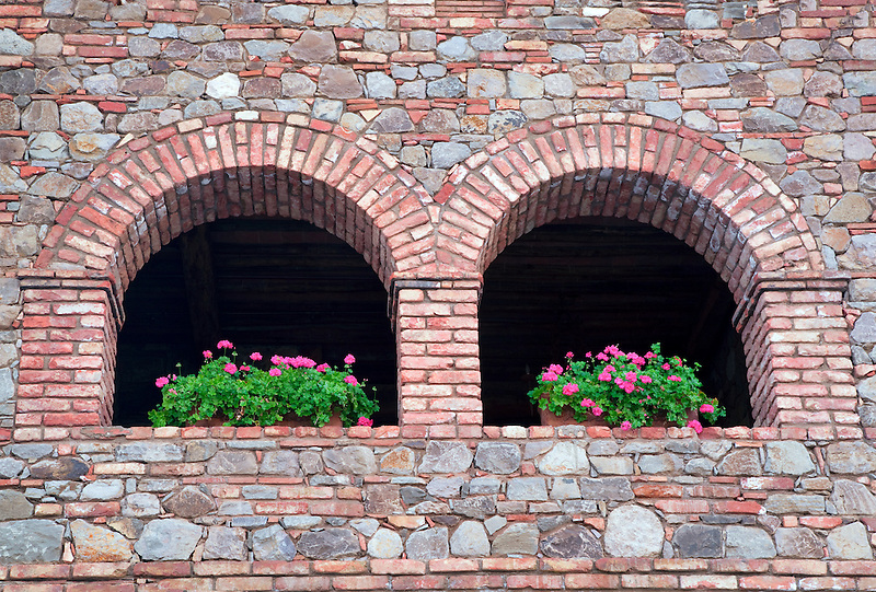 Begonia flowers on castle wall. Castello di Amorosa. Napa Valley, California. Property relased