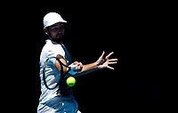 5th January 2020; RAC Arena, Perth, Western Australia; ATP Cup Australia, Perth, Day 3; Italy versus Norway; Viktor Durasovic of Norway plays a forehand shot against Stefano Travaglia of Italy - Editorial Use