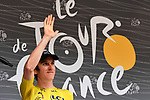 Race leader Geraint Thomas (WAL) Team Sky Yellow Jersey at sign on before the start of Stage 13 of the 2018 Tour de France running 169.5km from Bourg d'Oisans to Valence, France. 20th July 2018. <br /> Picture: ASO/Alex Broadway | Cyclefile<br /> All photos usage must carry mandatory copyright credit (&copy; Cyclefile | ASO/Alex Broadway)