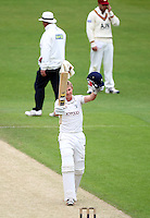 PICTURE BY VAUGHN RIDLEY/SWPIX.COM - Cricket - County Championship, Div 2 - Yorkshire v Northamptonshire, Day 3  - Headingley, Leeds, England - 01/06/12 - Yorkshire's Joe Root celebrates his century.